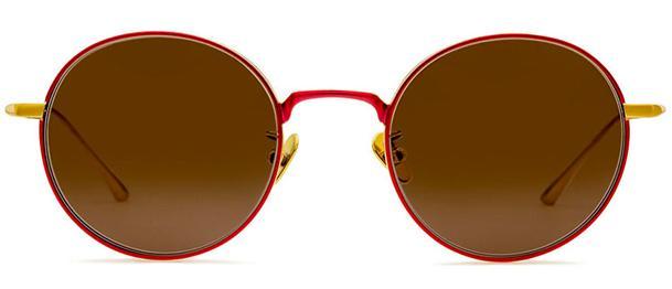 Okulary BRENDA BLUEBERRY RED GOLD BROWN - 1